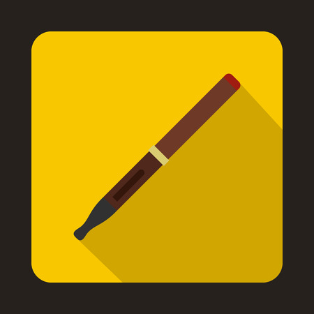 Brown electronic cigarette icon in flat style on a yellow background Illustration