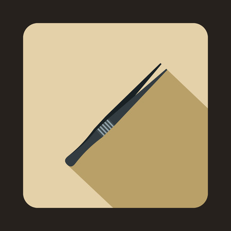 Metallic tweezers icon in flat style on a beige background