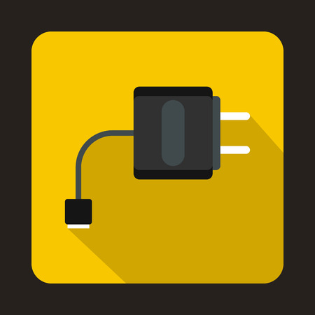 vaporized: USB cable for electronic cigarette icon in flat style on a yellow background Illustration