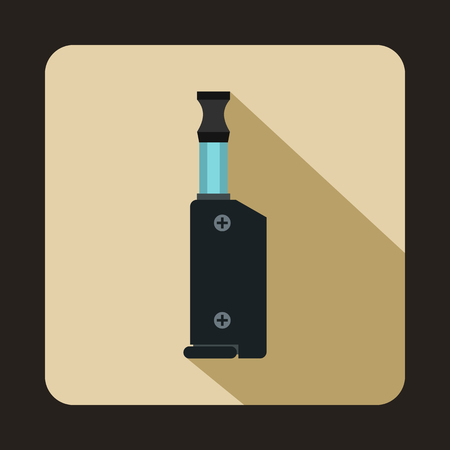 e cig: Vape device icon in flat style on a beige background