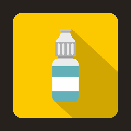 vaporized: Refill bottle icon in flat style on a yellow background
