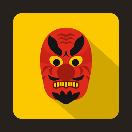 noh: Hannya mask icon in flat style on a yellow background Illustration