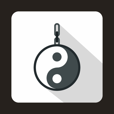 daoism: Amulet of yin yang icon in flat style on a white background Illustration