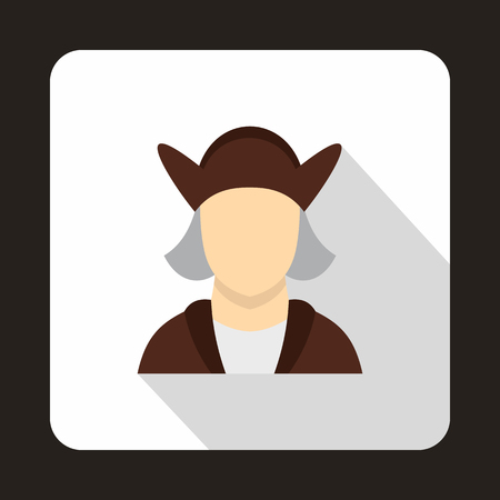 christopher: Christopher Columbus icon in flat style isolated with long shadow