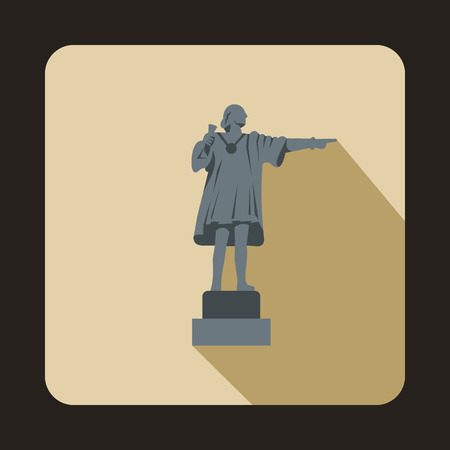 Statue of Christopher Columbus pointing on the America icon in flat style isolated with long shadow Illustration