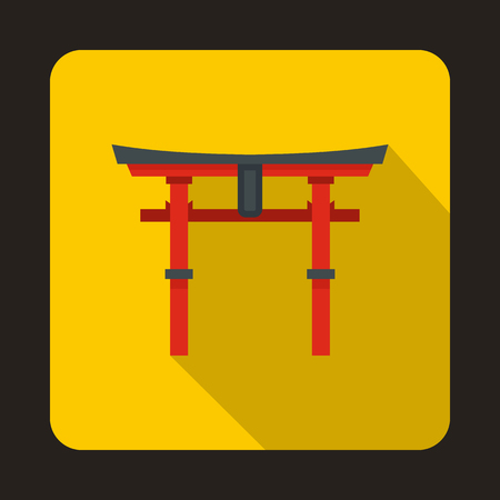 torii: Japan gate icon in flat style on a yellow background