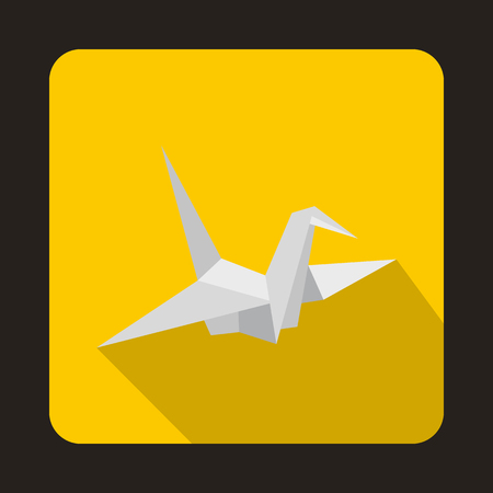 gift of hope: Paper dove icon in flat style on a yellow background
