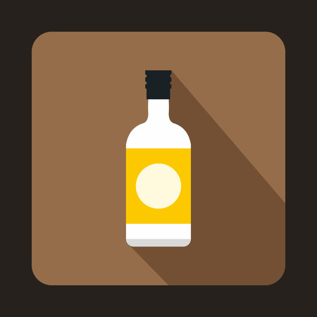 sake: Sake bottle icon in flat style on a coffee background