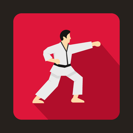 karate fighter: Karate fighter icon in flat style on a crimson background Illustration