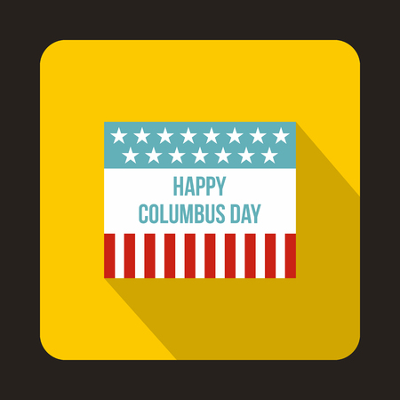 caravel: Flag for Columbus Day icon in flat style isolated with long shadow