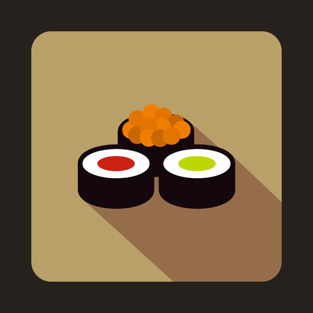 nori: Sushi rolls icon in flat style on a coffee background Illustration