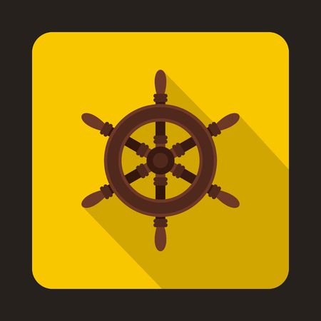 piloting: Ship steering wheel icon in flat style isolated with long shadow