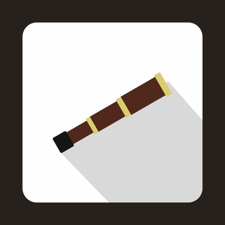 spyglass: Spyglass icon in flat style isolated with long shadow