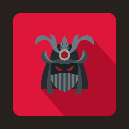 daimyo: Japanese samurai mask icon in flat style on a crimson background Illustration