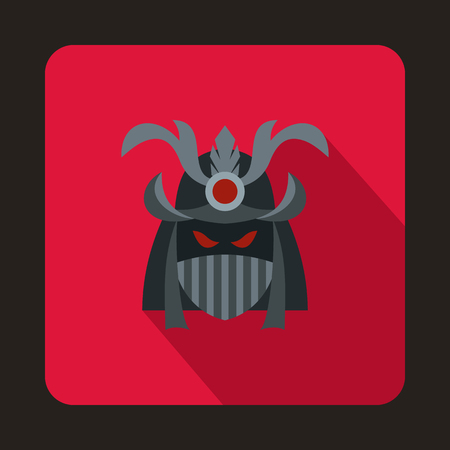 Japanese samurai mask icon in flat style on a crimson background Illustration