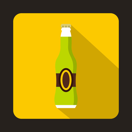 green beer bottle: Full green beer bottle icon in flat style isolated with long shadow