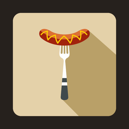 banger: Grilled Sausage on a fork icon in flat style isolated with long shadow Illustration