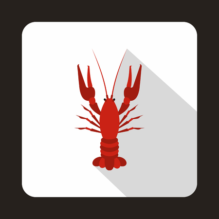 Boiled red crayfish icon in flat style isolated with long shadow