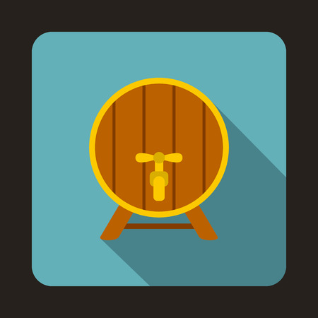 big cork: Wooden beer barrel icon in flat style isolated with long shadow Illustration