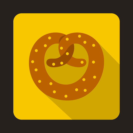bretzel: Realistic tasty pretzel icon in flat style isolated with long shadow
