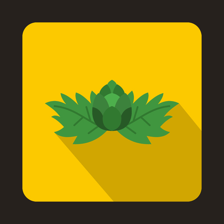 ferment: Hop with leaves and cone icon in flat style isolated with long shadow Illustration