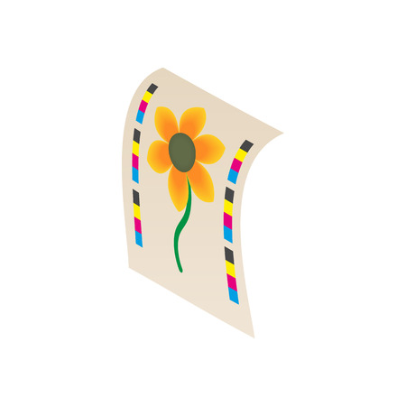 printed machine: Flower printed on printer icon in cartoon style isolated on white background. Print symbol