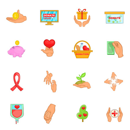 charity collection: Charity organization icons set in cartoon style. Donation set collection vector illustration