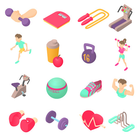 sports equipment: Fitness icons set in isometric 3d style. Sports equipment set collection vector illustration Illustration