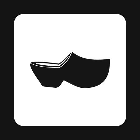 icono del zapato de madera en estilo sencillo sobre un fondo blanco