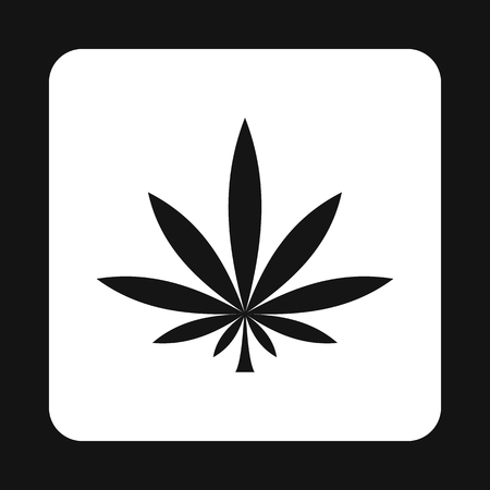 Marijuana leaf icon in simple style on a white background