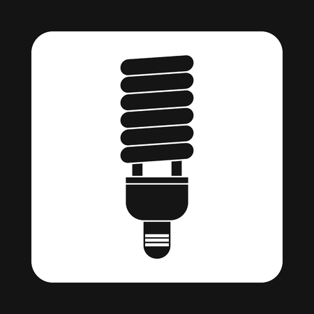 compact fluorescent lightbulb: Energy saving fluorescent light bulb icon in simple style on a white background