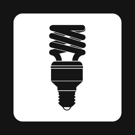 kilowatt: Fluorescent saving light bulb icon in simple style on a white background