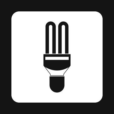 compact fluorescent lightbulb: Fluorescent saving light bulb icon in simple style on a white background