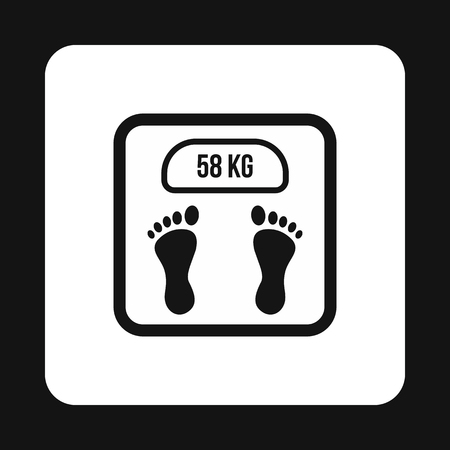 analog weight scale: Black floor scales icon in simple style on a white background Illustration