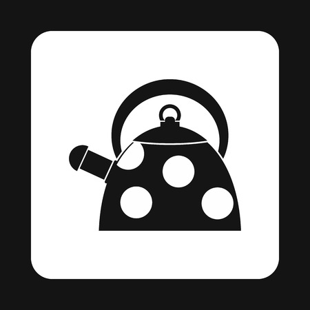 Black kettle with white dots icon in simple style on a white background Illustration