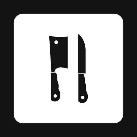 meat knife: Kitchen knife and meat knife icon in simple style on a white background Illustration