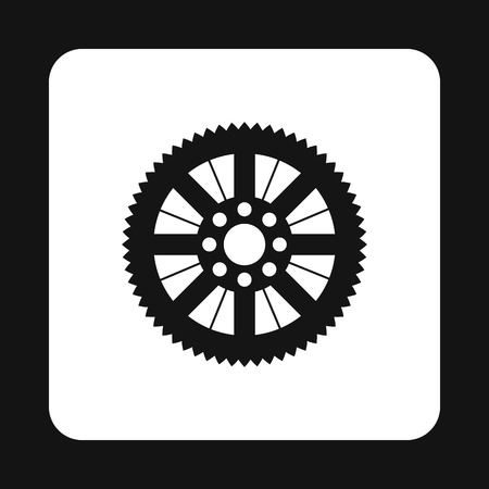 mechanical parts: Sprocket for bicycle icon in simple style isolated on white background. Mechanical parts symbol