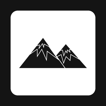overlook: Winter mountains icon in simple style isolated on white background. Nature symbol