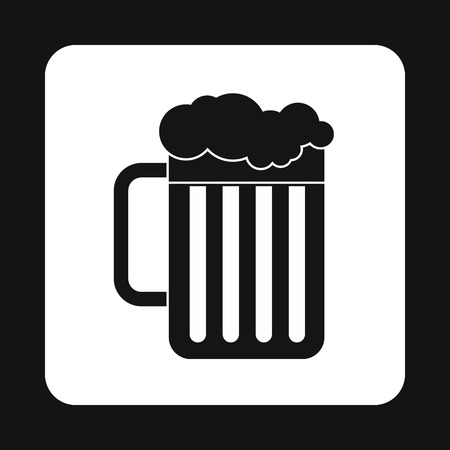 intoxication: Beer mug icon in simple style isolated on white background. Drinks symbol