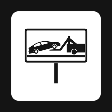 evacuacion: Sign evacuation of cars to impound yard icon in simple style isolated on white background. Punishment symbol