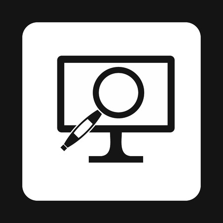 finding: Finding information on computer icon in simple style isolated on white background. Searching symbol Illustration