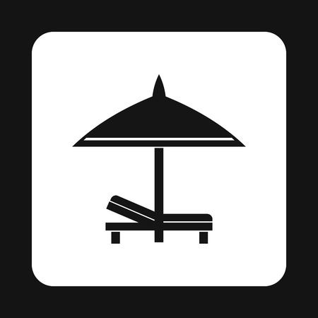 recliner: Bench and umbrella icon in simple style isolated on white background. Relax on the beach symbol Illustration