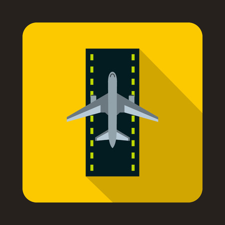 runway: Airplane on runway icon in flat style isolated with long shadow Illustration