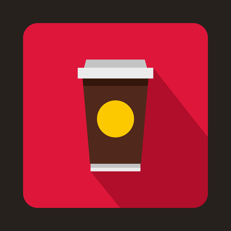 take away: Coffee in take away cup icon in flat style isolated with long shadow