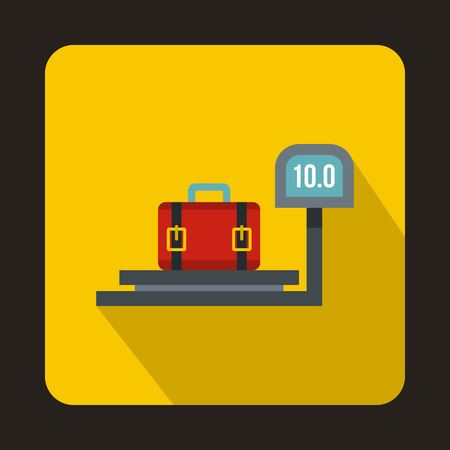 Luggage weighing icon in flat style isolated with long shadow