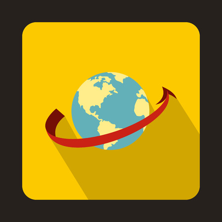 fly around: Airplane flying around earth icon in flat style isolated with long shadow Illustration