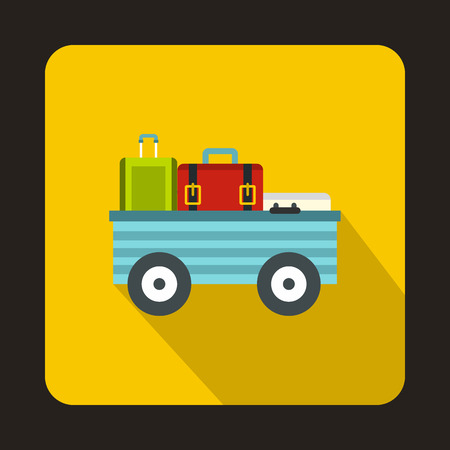 Luggage cart with suitcases and bags icon in flat style isolated with long shadow Illustration