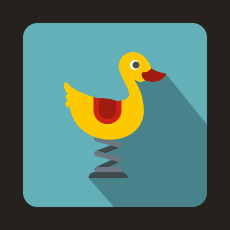playground ride: Yellow duck ride playground equipment in a childrens playground icon in flat style isolated with long shadow