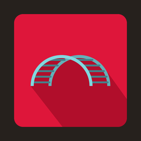schoolyard: Climbing stairs on a playground icon in flat style isolated with long shadow