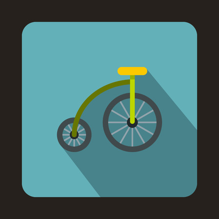 treadle: Bicycle for children icon in flat style isolated with long shadow